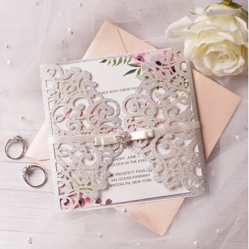 Elegant silver and blush laser cut invitations, floral pattern, spring weddings, romantic wedding invites, rustic WS116