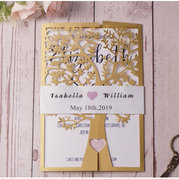 Rustic gold laser cut invite, tree cut, spring weddings, belly band, custom invite, handmade wedding invite WS118