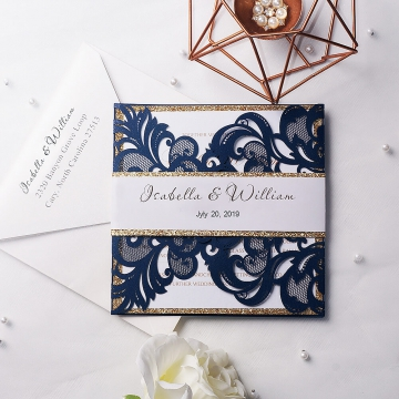Navy blue and gold invitations, laser cut invite, custom invite with gold belly band, spring, fall, winter WS121