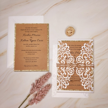 Rustic wedding invite, laser cut invite, gold invite, custom invite with twine, country wedding, cheap invite WS125