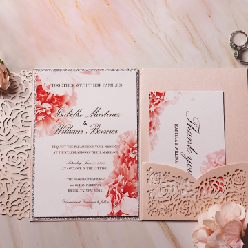 Blush and silver watercolor invite, laser cut invite, spring, summer, fall weddings, beach weddings, pocket wedding invite WS127