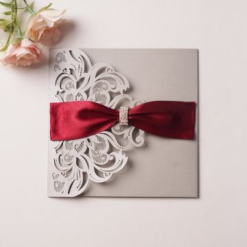 Gray laser cut wedding invite, watercolor floral invite, spring weddings invite, burgundy ribbon, elegant invite, rustic invite WS126