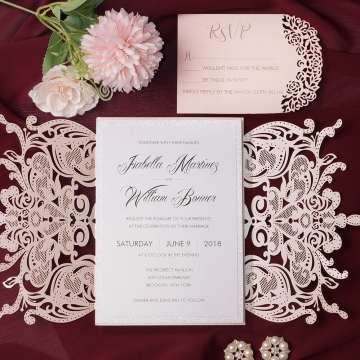 Blush and silver laser cut wedding invitations, cheap invite, spring and summer, luxury and elegant WS129