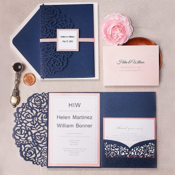 Classic blue and mauve laser cut invites, pocket invites, blush invites, elegant invites, birthday invites, spring, fall, wax seal WS131