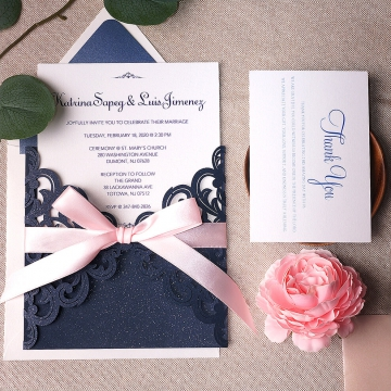 Navy and blush soft elegant laser cut invite, spring weddings, summer weddings, cheap wedding invitations WS132