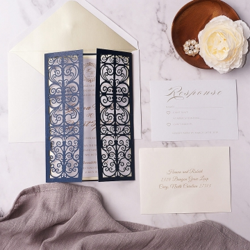 Classic and elegant blue and gold laser cut invite, royal invite, spring, fall, winter WS133