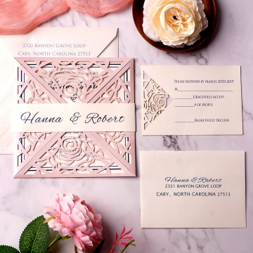 Modern simple blush and navy invite, laser cut wedding invite, elegant and soft, spring and summer, cheap invite WS134