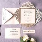 Classic gold laser cut invite, elegant wedding invite with belly band, gold font, luxury wedding theme WS135