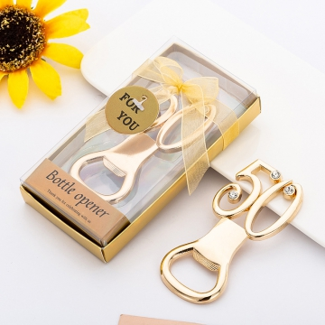 Golden Wedding Corkscrew Customization Wedding Favors WF073