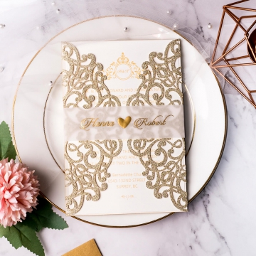 Classic and elegant gold invite, laser cut invite, foil invites, vellum belly band, royal wedding invite, monogram, art decor WS136
