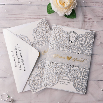 Silver glitter elegant wedding invite, classic invite, vellum belly band, cheap invite, spring, summer, fall, winter  WS137