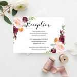 Cheap watercolor wedding invites, burgundy and blush florals, rustic invites, spring, summer WS138