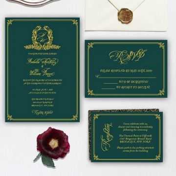 Cheap emerald green and gold invite, royal wedding invite, monogram, classic, vintage, fall, winter, spring WS139