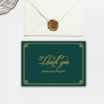 Cheap emerald green and gold invite, royal wedding invite, classic, vintage, fall, winter, spring WS139