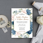 Cheap dusty blue watercolor invite, geometric pattern, summer wedding, beach, spring, elegant invite, rustic invite WS140