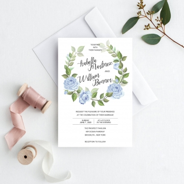 Cheap watercolor invite, dusty blue and green, greenery wedding, rustic wedding, spring, summer, beach wedding WS141