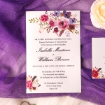 Cheap watercolor purple invite, rustic spring and summer weddings, elegant, garden, summer, beach WS142