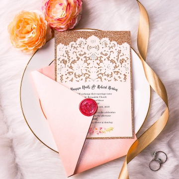 Cheap rose gold laser cut wedding invites, simple and elegant, spring, summer, classic wedding theme WS143