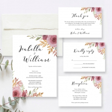 Cheap mauve watercolor wedding invitations, rustic wedding, elegant, garden, beach wedding, spring and summer WS147