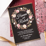 Boho classic burgundy and black laser cut wedding invitations, gold belly band, watercolor wedding invitations, fall, winter, spring, country wedding, vintage wedding WS148