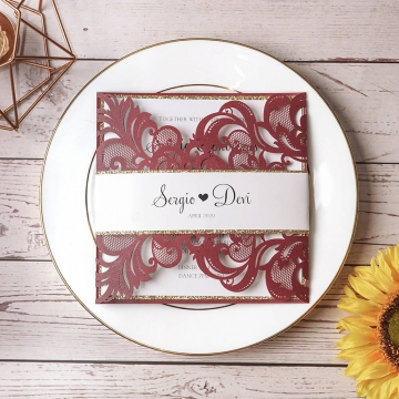 Classic burgundy and gold wedding invitations, laser cut invitations, cheap invites, spring, fall, winter weddings WS150