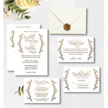 Rustic chic minimalist wedding invitations, Gold Bohemian invitations, cheap wedding invitations WS152