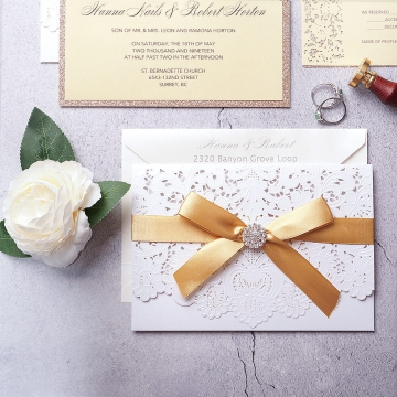 Elegant gold and white pocket wedding invitations, laser cut invitations, custom invites with ribbon and silver embellishments, classic, luxury WS154