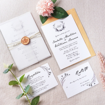 Minimalist vellum wedding invites, rustic wedding invitations, wax seal, Bohemian weddings, spring and fall WS155