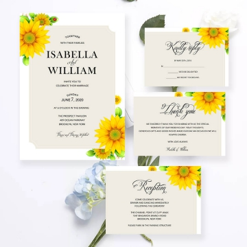 Rustic sunflower wedding invitations, spring summer and fall weddings WS156