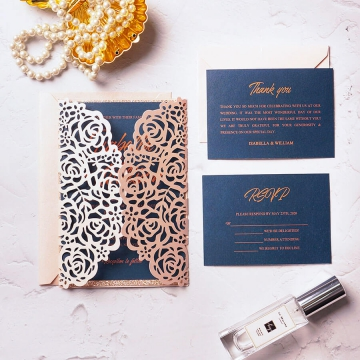 Navy and rose gold laser cut wedding invite, elegant and classic invite, spring, summer, fall, cheap foil invite WS159