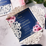 Navy blue rustic wedding invite, spring summer fall country wedding, cheap wedding invitations, foil invite WS161