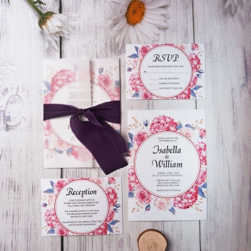Pink and purple vellum boho spring wedding invitation, vellum wedding invitation, summer wedding WS162