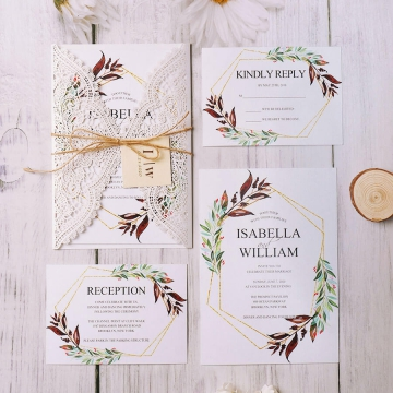 Elegant boho rustic laser cut wedding invitation, cheap invite, spring wedding WS163