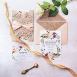 Rose gold laser cut invitation with ribbon, laser cut invite, rustic invite, elegant wedding invite, spring and summer WS166
