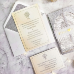 Luxe silver and gold elegant wedding invitations with rsvps, simple wedding invitations, gate fold invitations WS167