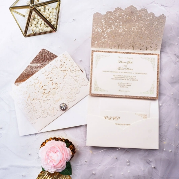 Elegant mild tri-fold pocket laser cut invitations, gold invites, rose gold backer, wedding invitation with rsvps, free print invitations WS168