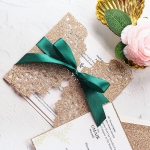 Rose gold and emerald green luxury wedding invitations, unique wedding invitations with rsvps, elegant, organic, silky ribbon, spring and summer, fall, winter  WS169