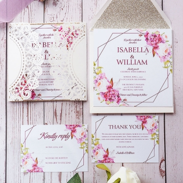 Cheap rustic laser cut wedding invitations with rsvp cards, country wedding invitations spring and summer, purple rustic invitations, elegant floral wedding invite suite WS170