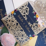 Luxurious gold and navy blue floral wedding invitation with belly band, foil invite, classic invite, bohemian wedding invite WS172