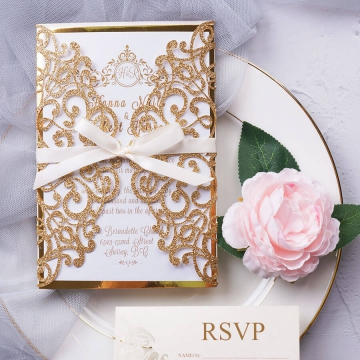 Royal gold elegant wedding invitation with rsvp cards, glittering invite, mirror lining, thin and chic silk ribbon, elegant spring and fall wedding, classic, affordable WS173