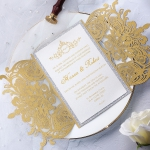 Gold royal silver laser cut wedding invitation with rsvp cards, elegant wedding invite suite, monogram design, elegant calligraphy, foil invites WS174