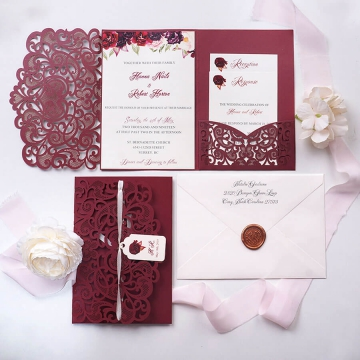 Burgundy laser cut pocket wedding invitation with tag, romantic floral and elegant calligraphy, garden wedding  WS175