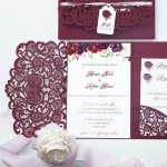Burgundy laser cut pocket wedding invitation with tag, romantic floral and elegant calligraphy, garden wedding