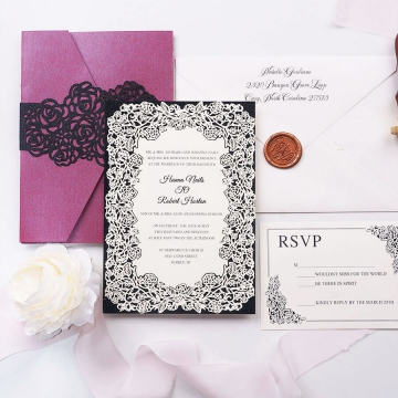 Vintage pocket burgundy and black tri-fold invite with rsvp card, formal invite, elegant laser cut design WS176