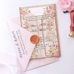 Elegant gold gate wrap wedding invitation with romantic blush florals spring, classic cheap invite WS177