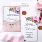 Rose gold and blush simple pocket wedding invitation, rustic invite elegant cheap spring summer WS178