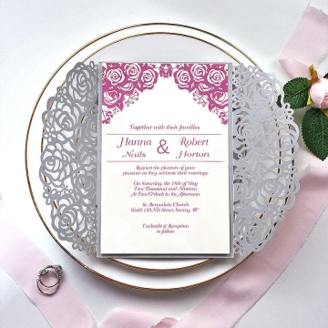 Mellow gray and mauve rose invite, rustic romantic feel for any season WS180