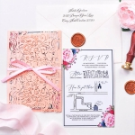 Coral wrap laser cut invitation with pink ribbon, floral wedding invitation romantic rustic cheap for spring and summer WS179