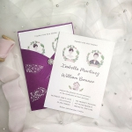 Whimsical purple wedding invite elegant, illustration wedding invite WS181