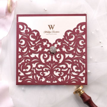 Elegant burgundy wedding invite square, pocket wedding invitation WS182